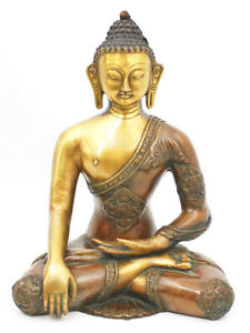Gorevizon-11-034-Ashtamangal-Buddha-Sculpture-Brass-Statue-Brown-Gold