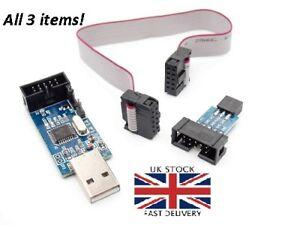 USB-Isp-Usbasp-Programador-Avr-Atmel-ATMega8-Descarga-Pin-Idc-Cable-3-3V-5V-Gb