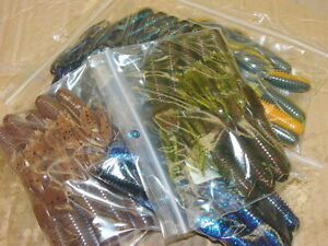 "4/"" Craw Tube Junebug Bass Tube Solid Head 50 count bag bulk plastic worm"