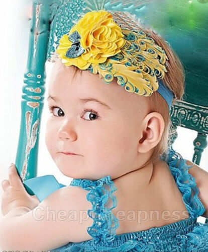 Kids Girl Baby Feather Flower Headband Hair Band Accessories Infant Headband DSU