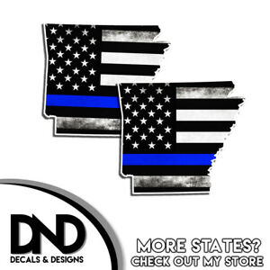 Oregon State Police Blue Line Decal OR Tattered American Flag Sticker 2 Pack