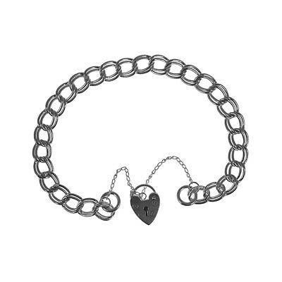 NEW Sterling Silver 4mm 10.6g Curb Charm Bracelet Heart Lock Safety Chain 925