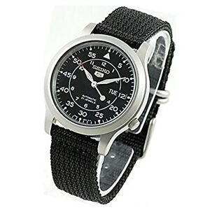 Seiko-Automatic-Military-Black-Nylon-Sports-Watch-SNK809-SNK809K2-Men-039-s-Day-Date