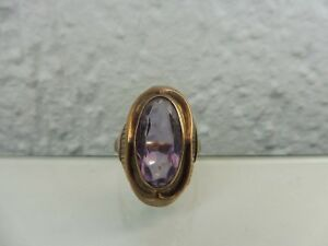 Beautiful, old Ring __333 Gold __ With Polished Amethyst __ Art Deco