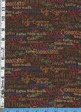 Fabric QT DAILY GRIND COFFEE NAMES MULTI brown international BTHY