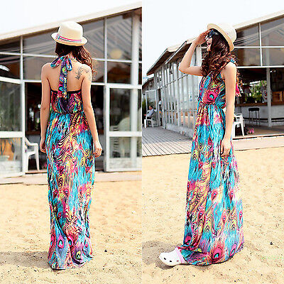 Sexy Women Party Boho Maxi Dress Party Halter V-Neck Long Beach S M L XL
