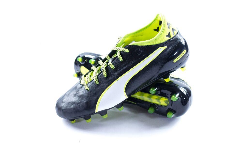 Puma Evotouch 2 Fg homme noir Green Leather athlétique Lace Up Soccer chaussures Sz. 11