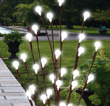 2 X 60CM WHITE SOLAR POWERED GARDEN DECOR TWIG TREE LED LIGHTS  LIGHTING OUTDOOR