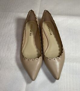 Coach-Jill-Soft-Tan-Leather-Studded-Scalloped-Pointed-Ballet-Flats-Size-7-5