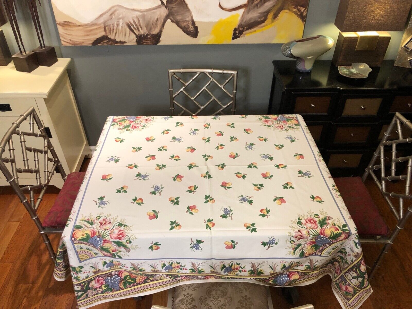 Beauville coton Peach Floral Nappe 64X64 Made in France M.I.E RI BEAUVILLE