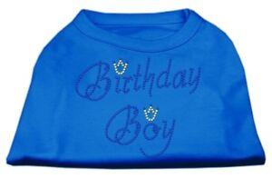 Mirage-Pet-Rhinestone-Shirt-034-Birthday-Boy-034-Blue-Size-Large