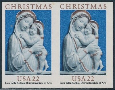 "Errors, Freaks, Oddities Objective #2165a ""christmas 22¢"" Imperf Pair Error Cv $55 Bs8019"