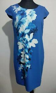 Jacques Vert Royal Blau Blumendruck Sommerkleid Größe 12 Petite Kreuz Zurück