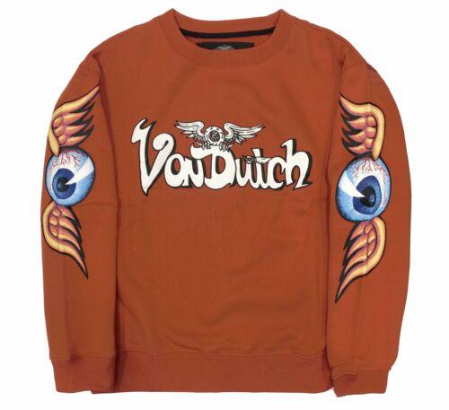 Von Dutch Flying Eyeball Crewneck Sweatshirt Pullover Orange
