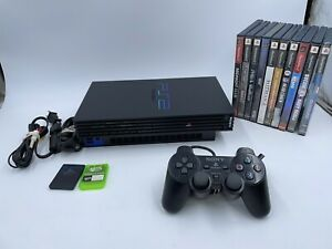 Sony PlayStation 2 PS2 Bundle Fat Console with 10Games Black SCPH-30001 WORKING!