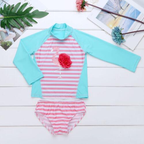 Kids Baby Girl Long Sleeve Bikini Swimwear Swimsuit Beachwear Rash Guard Costume