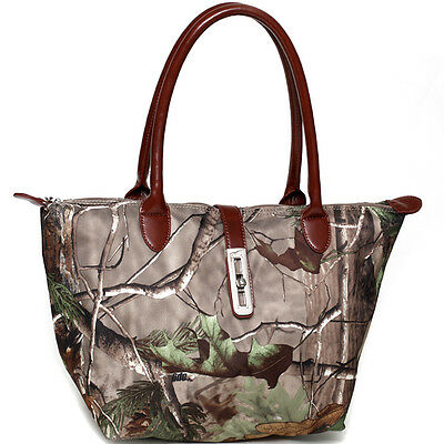 New Realtree Camouflage Leather Totes Shoulder Bag Handbag Purse w/ Twist Lock