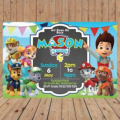 Personalised Digital Paw Patrol Kid Party Birthday Invites Invitations You Print Ebay