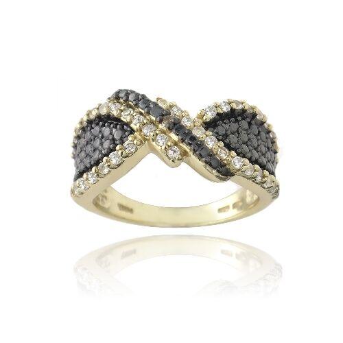 Gold Tone over 925 Silver White Topaz & Champagne Diamond Accent Twist Ring