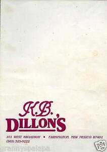 Older Restaurant Menu-101 W Broadway-Farmington New Mexico K.B. Dillons