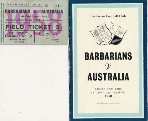BARBARIANS v AUSTRALIA FEB 1958 RUGBY MATCH PROGRAMME & TICKET