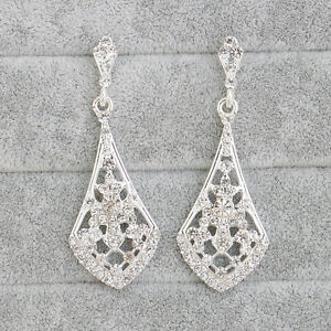 Beautiful-Dangling-Drop-Diamante-Rhinestones-Crystal-Wedding-Silver-Earrings