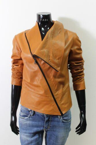 Lambskin Tan Italian Jacket Leather Handmade L Asymmetric Color Women qw8wBEC