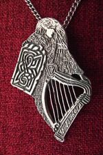 Celtic Woman Harp Plaid Tartan Endless Knotwork Irish Medieval Pewter Necklace