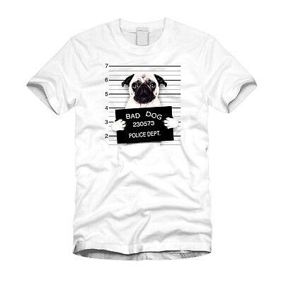 Women/'s Pug Mugshot Cute Funny Graphic Cotton T-Shirt