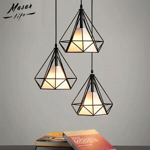 Details About Modern Pendant Lighting Metal Cage Polygon Wire 1 Light Hanging Ceiling Fixture