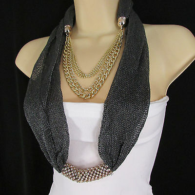 Women Mesh Fabric Dark Gray Metal Chains Fashion Scarf Necklace Charm Pendant