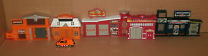 1/64 Scale Police & Fire Station Buildings - City Street Diorama w/ Diecast Car