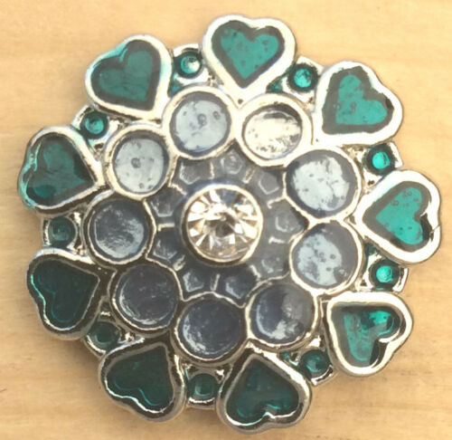 """Snap Chunk Button Green Heart Edge Design Charm For Ginger Snap Style Jewelry /"""""""