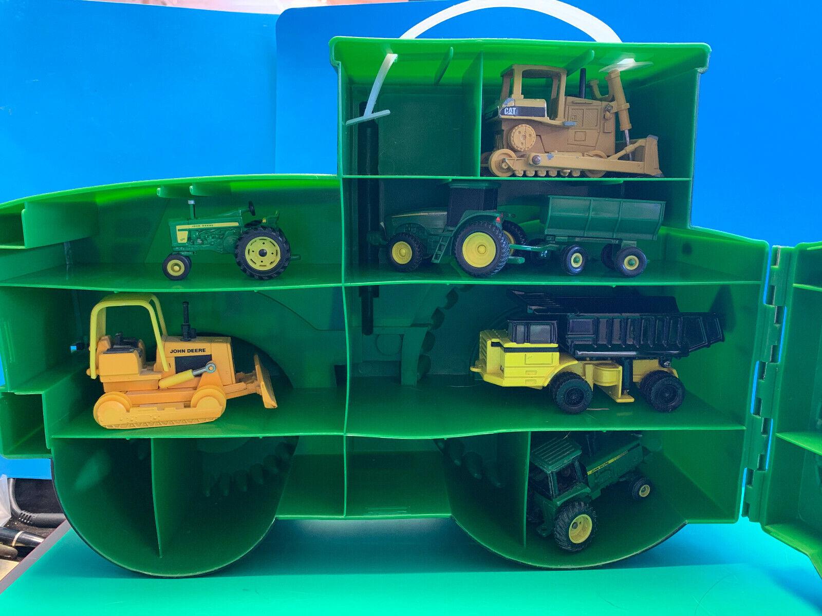 Collectible ERTL John Deere Plastic Case With 6 Diecast Ertl Vehicles Tractors