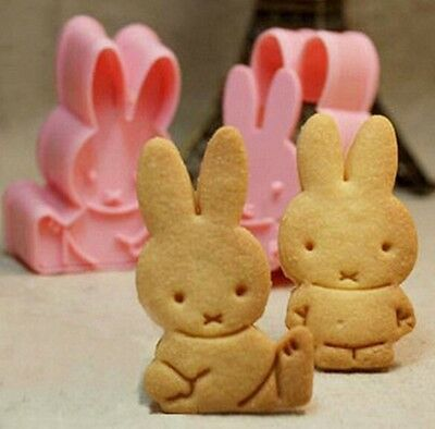 FD831 Sweet Miffys Rabbit Cookie Fondant Cake Sugarcraft Mold Bakeware DIY 2pcs