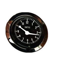 Classic-Car-genuine-Smiths-Time-Clock-Gauge-52-Mm-Black-Face