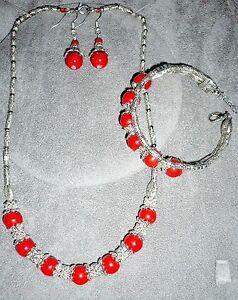 3-tlg-SchmuckSet-Collier-Armband-Ohrringe-Imitat-Koralle-Tibet-Silber-NEU