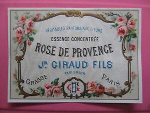 1 ancienne etiquette parfum rose de provence antique perfume label french paris ebay. Black Bedroom Furniture Sets. Home Design Ideas
