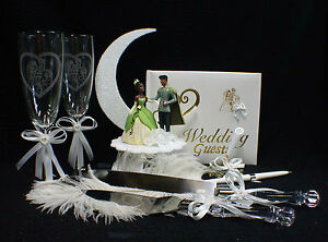 disney princess tiana prince wedding cake topper lot glass african