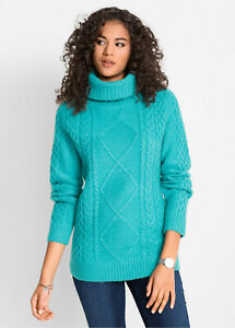 Sea-Green-Aqua-Cable-Knit-Chunky-Polo-Neck-Jumper-Roll-Neck-Sweater