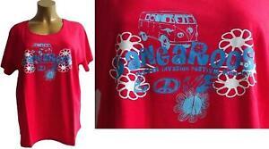 Nuevo-sobre-tamano-senora-manga-corta-Camisa-de-Kangaroos-con-matricula-motivo-en-rojo-talla-56-58