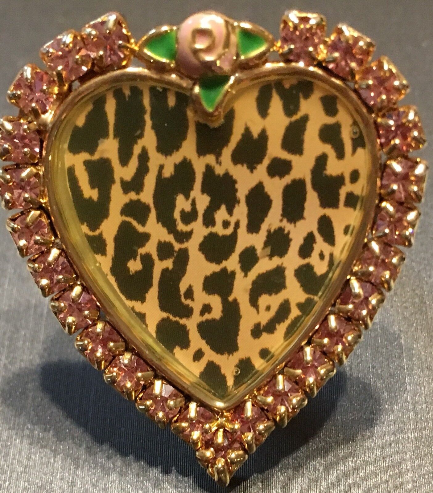 Betsey Johnson Vintage Rare Tea Party Pink Rhinestone Leopard Heart RingSz 7