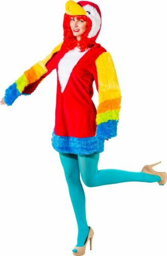 Orl Damen Kostüm Papagei Kleid mit Kapuze Karneval Fasching