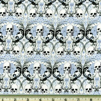By Yard-regent Skull Halloween Knifty Knit Fabric Alexander Henry N8446a Blue