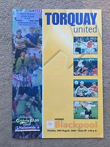 Torquay United v Blackpool  Nationwide League Division 3 200001 Programme - <span itemprop='availableAtOrFrom'>Southampton, United Kingdom</span> - Torquay United v Blackpool  Nationwide League Division 3 200001 Programme - Southampton, United Kingdom