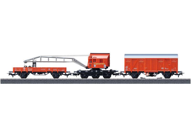 Märklin 44752 Güterwagenset Kranwagen Feuerwehr H0