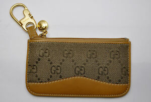 e2fe4ccb7458 RARE Vintage GUCCI Tan /Brown Leather GG Supreme Zip Change / Card ...