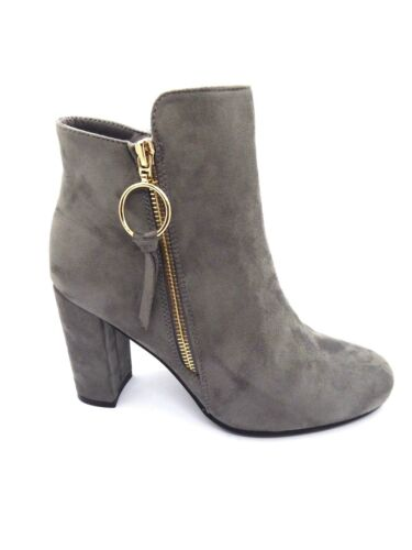 womens black faux suede block high heel ankle winter boots with zip fastening