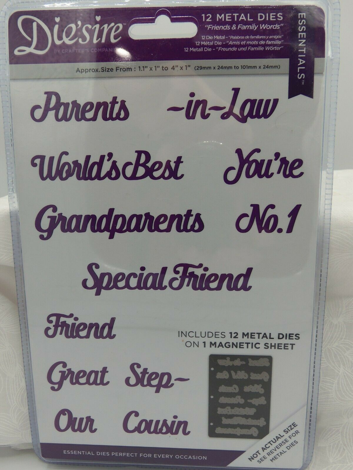 Diesire Essentials Metal Dies CELEBRATION WORDS Set Crafters Companion