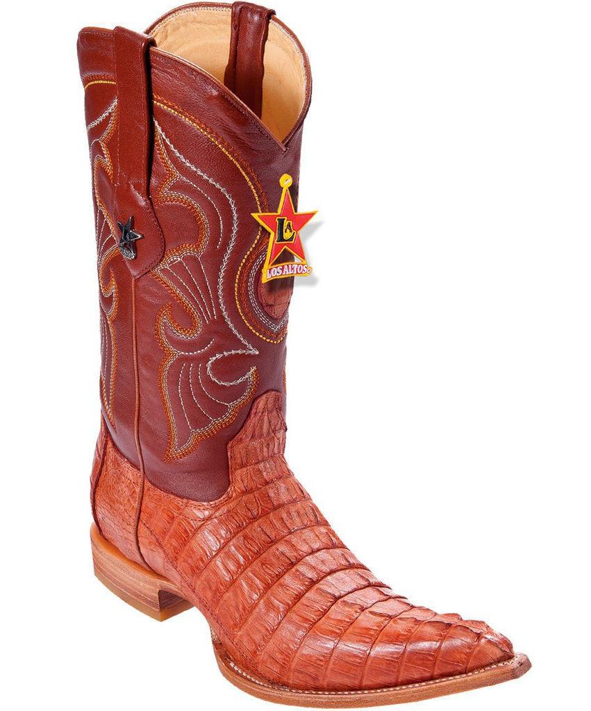 Los Altos Genuine COGNAC Caiman CROCODILE Tail 3x Toe Western Cowboy Boot D